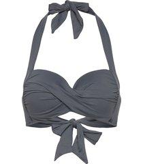 seafolly twist soft cup halter bikinitop grå seafolly