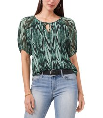 vince camuto abstract-print puff-sleeve top