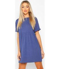geribde gesmokte jurk, marineblauw