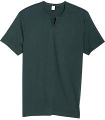 alternative apparel modern fit notched crew neck t-shirt deep green