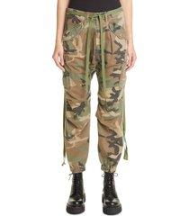 women's r13 camo print drop crotch cargo pants, size small - green