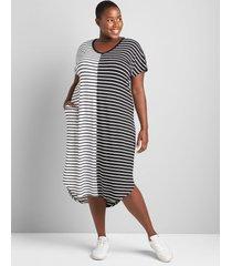 lane bryant women's livi striped midi dress 30/32 black and white hunter stripe