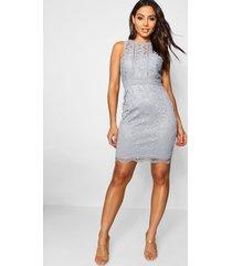 boutique kanten bodycon jurk met racer hals, grijs