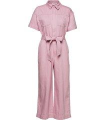 utility tie-belt jumpsuit jumpsuit roze gap