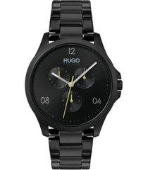 hugo men's #risk black stainless steel bracelet watch 41mm