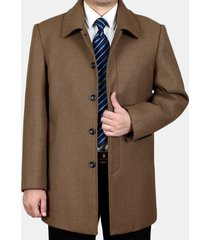 mens plus size mid long trench in pile di colore solido