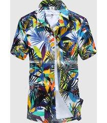 camicia mare stampa hawaiana floreale