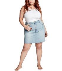 trendy plus size denim skirt