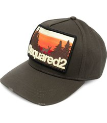 dsquared2 logo-patch distressed baseball cap - green