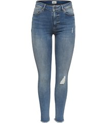 blauw only onlblush mid sk ank raw jeans jeans