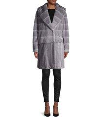 donna karan new york women's faux fur coat - grey - size m