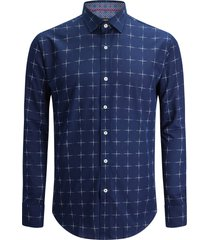 men's bugatchi shaped fit check button-up shirt, size small - blue
