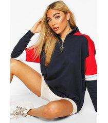 half zip colour block arm hoodie, navy