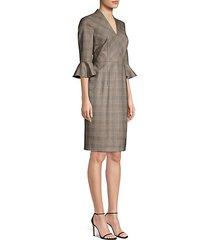 dinfo plaid ruffle-sleeve sheath dress