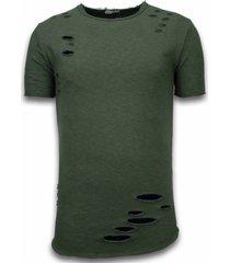 © man damaged look shirt long fit t-shirt