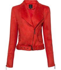 jaqueta dudalina manga longa perfecto suede tricot feminina (vermelho medio, 44)