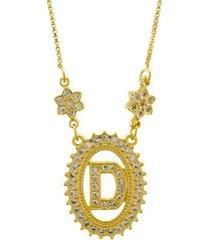 colar horus import letra d zircônia banhado ouro 18k feminino