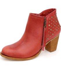 botín cuero luciana ramona rojo kebba