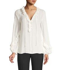 kobi halperin women's angie silk-blend ruffled blouse - ivory - size xs