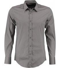 antony morato grijs super slim stretch overhemd valt kleiner
