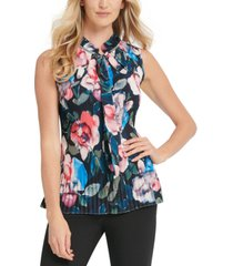 dkny petite pleated floral-print top