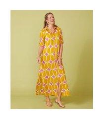 camisão feminino -camisão adri cor: amarelo, off white e rosa estampado - tamanho: p
