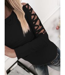 black hollow design criss-cross detials long sleeves t-shirt