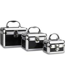 kit 3 maletas rubys alumínio organizadoras para maquiagem e jóias preta