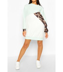 tall leopard colour block sweat dress, mint