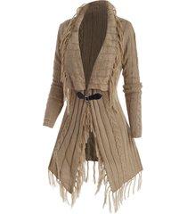 buckle front tassel longline cardigan