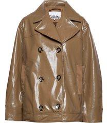 patent over d jacket leren jack leren jas bruin ganni