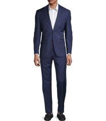 lauren ralph lauren men's windowpane wool-blend suit - bright navy - size 44 r