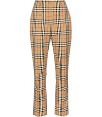 burberry dana vintage check straight-leg trousers - neutrals