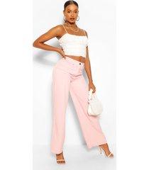 geweven wide leg pantalons, roze