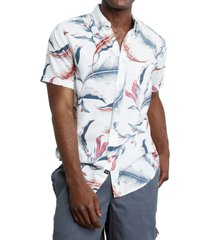 rails carson floral short sleeve linen blend button-up shirt, size xx-large in birds of paradise at nordstrom