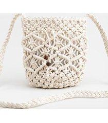 becca mini crochet bucket bag - white