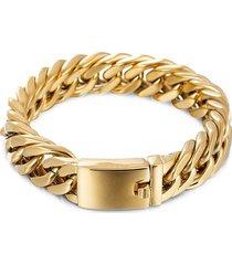 eye candy la men's christian 18k goldplated titanium chain bracelet