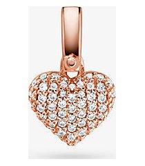 mk ciondolo a forma di cuore in argento sterling con placcatura in metallo prezioso e pavé - oro rosa (oro rosa) - michael kors
