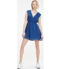 tommy hilfiger women's v-neck fluid dress estate blue - xs