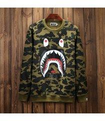 casual a bathing ape bape shark camouflage hooded sweater top long sleeve hoodie