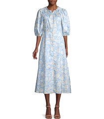 rebecca taylor women's short-sleeve satin leaf floral dress - sky combo - size 0