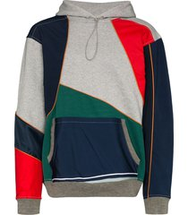 ahluwalia patchwork design hoodie - grey