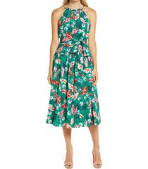 women's eliza j floral print halter neck belted dress, size 18 - green