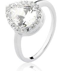 anel prata rara princesa gota branco