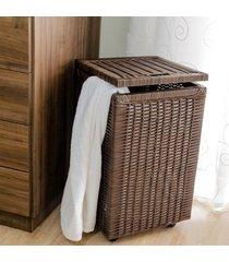 cesto roupa suja roupeiro fibra sintetica junco argila 35x35x57 - marrom - feminino - dafiti