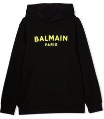balmain black cotton hoodie