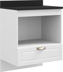 balcão multimóveis nevada 70cm para cooktop, forno e microondas suspenso branco ref.5607s.156tp