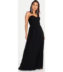 chiffon bandeau maxi bridesmaid dress, black