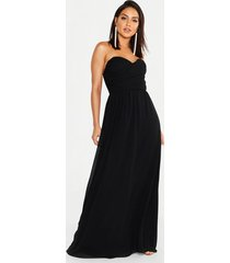 chiffon bandeau maxi dress, black
