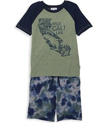 little boy's 2-piece graphic tee & tie dye shorts set